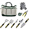 Ucharge 9 Pieces Garden Tool Sets Include a Plant Rope and a Pair of Work Gloves,6 Heavy Cast Aluminum Heads with Ergonomic Handles and a Garden Tote