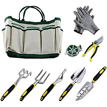 Ucharge 9Pcs Garden Tool Sets-a Plant Rope,Soft Gloves,6 Ergonomic Gardening Tools and a Garden Tote