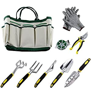 Ucharge 9pcs garden tool sets a plant rope for Gardening tools on amazon