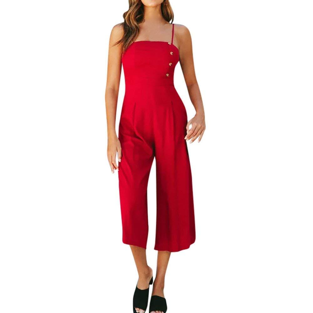Ladies Fashion Elegant Jumpsuit Women Jumpsuits Elegant Wide Leg Sleeveless High Waisted Summer Pants Red M by GWshop (Image #1)