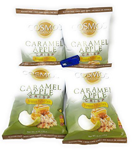 Cosmos Creations Premium Puffed Corn 4 Pack  Gluten Free  Non Gmo Snacks  Bonus One Hg Grocery Bag Clip  Colors Vary   Caramel Apple Crisp  6 Ounce