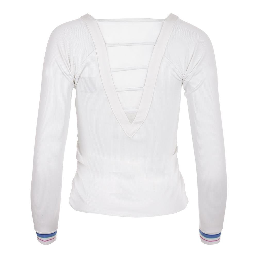 Lucky In Love Women`s Stripe V-Neck Rib Long Sleeve Tennis Top White-(6552958521 by Lucky In Love (Image #3)