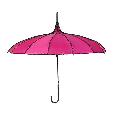 Paraguas largo de la manija sombrilla recta a prueba de viento Pagoda de las mujeres y