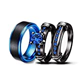 LOVERSRING Couple Ring Bridal Set His Hers Women Black Gold Filled Blue Agate Men Stainless Steel Wedding Ring Band