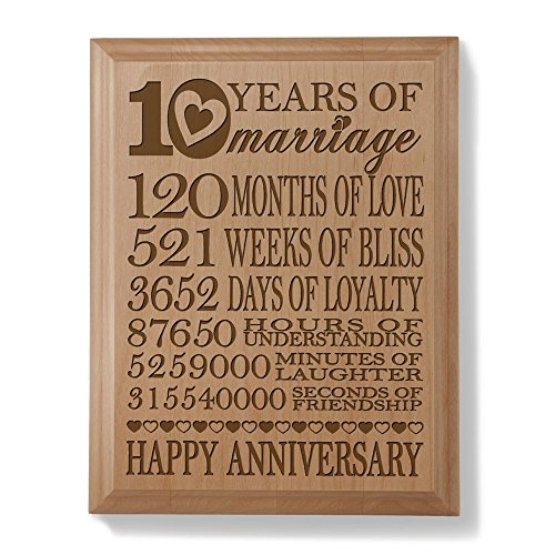 Kate Posh - Our 10th Anniversary Engraved Natural Wood Plaque - 10 Years of Marriage, 10th Anniversary Gifts, 10 Years 120 Months, 10 Year Wedding Anniversary Gifts, 10 Years as Husband and Wife.