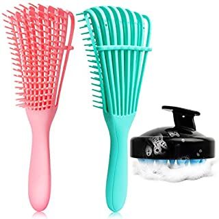 3 Pack Detangling Brush Set, Detangler Brush for Natural Black Hair Curly Hairk, Dry and Wet, Hair Scalp Massager Shampoo Brush, Hair Detangler for Afro America 3A to 4C Wavy/Coily/Oil/Thick/Long