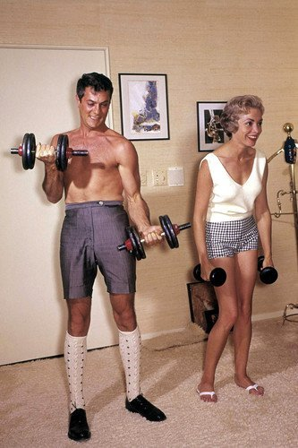 Tony Curtis and Janet Leigh lifting weights working out gym bare chested 11x17 Mini Poster
