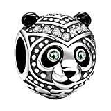SOUFEEL Panda Charms 925 Sterling Silver Green Swarovski Animal Talisman Bead Charm for Bracelets Gifts