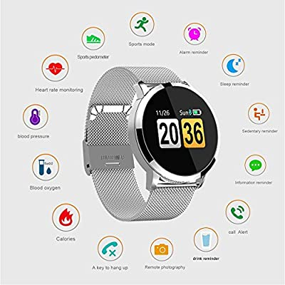 Fitness Tracker, Smart Watch 4 sports Mode, Heart Rate Monitor IP68 Waterproof Activity Tracker, Sleep & Blood Pressure Oxygen Monitor, Calorie/Step Counter Smart Wristband for IOS Android