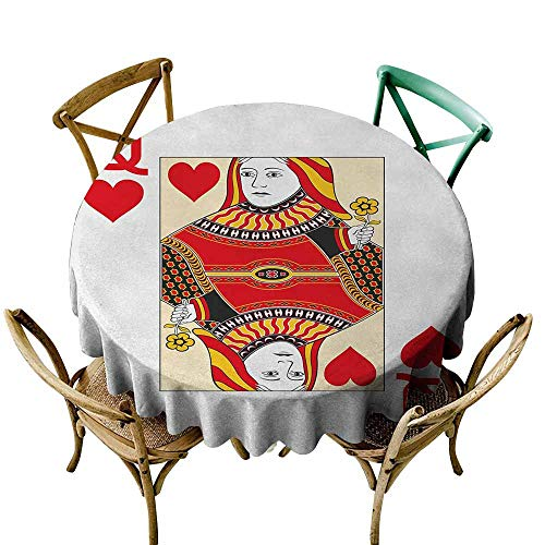 (crabee Round Tablecloth Vinyl Queen,Queen of Hearts Playing Card Casino Design Gambling Game Poker Blackjack,Vermilion Yellow White,Table in Washable Polyester)