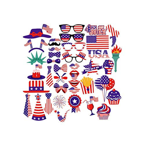 2019 New 25/40 Pieces July 4th US National Day Celebration Party Flag Patriotic Decor, USA Flags USA Independence Day Photo Props, American USA Flags Patterns Flag by BBtime (B) (Games For Independence Day Celebration In Office)