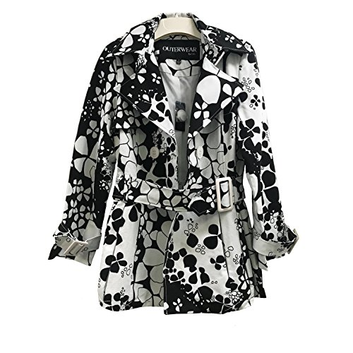 Women Casual Black & White Summer Floral Trench Coat - Coat Trench Womens Floral