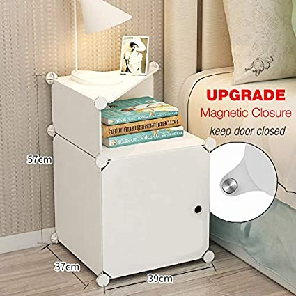 5535d0e457 TEREU White bedside table night stand end table side tables bed side  nightstand for bedroom with storage small white cabinet plastic with door:  ...