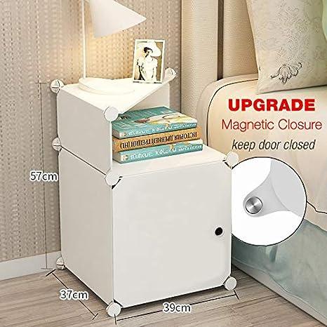 Mesita de noche blanca mesilla de noche mesitas de noche dormitorio blancas fijada con espacio de almacenamiento Gabinete pequeño de plástico blanco - ...