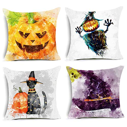 Halloween Decorative Throw Pillow Covers - Watercolor Pumpkin Ghost Wizard Hat Cat Cushion Cover, 18 x 18 inch Pillowcase Holiday Home Decoration Set of 4 ()