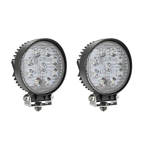 4' Round Fog Light (LED Light Bar, SOLCO Light 2x 27W Round Flood LED Work Light Driving Fog Light Off Road Lights IP67 Waterproof for Off-road, Truck, Car, ATV, SUV, Jeep, Boat (2X-27F-round))