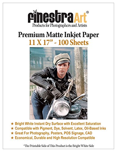 Bright White Matte Inkjet Paper (11 x 17 100 Sheets Premium Matte Bright White Inkjet Photo Paper 230gsm)
