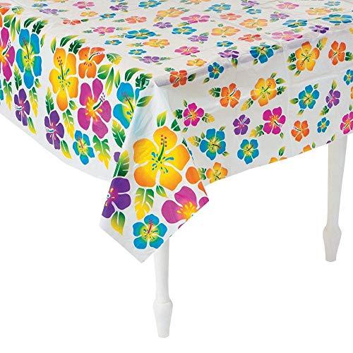 Hibiscus Print Plastic Tablecloth ()