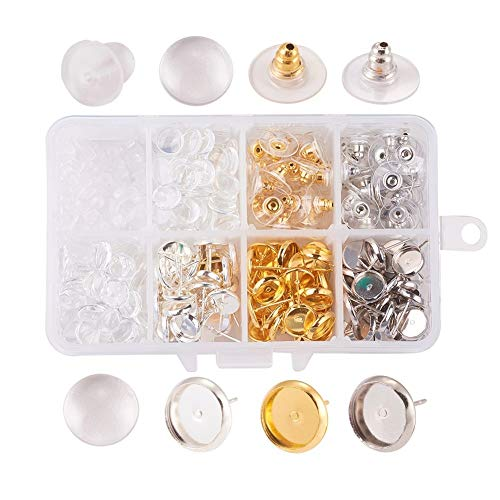 (Kissitty 440Pcs/box DIY Stud Earring Making Kits with 3 Colors 8mm Blank Bezel Tray Earring Set Post Cup Cabochon Earring Settings & Transparent Clear Glass Cabs Earnuts)