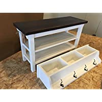 Hallway / Mud Room / Foyer Bench (32') With Second Shoe Shelf and Matching Coat Rack/Cubbie