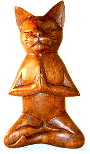 Meditating Yoga Kitty Statue Hand Painted Carved Wood Praying Cat Kitten Siamese
