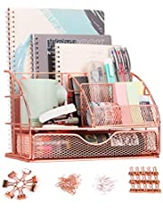 $23 » F-Jane Rose Gold Desk Organizer for Women,Mesh Metal Multi-Functional Stationery Desk Supply Accessories for office,school,home
