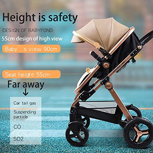 51f74nwch1L - Anti-Shock Luxury Baby Stroller 3 In 1,Babyfond Convertible Bassinet To Toddler Stroller,Reinforced Frame For Safety,Vista Pram,Quick Fold Baby Carriage(2020 Upgraded Version Black PU)