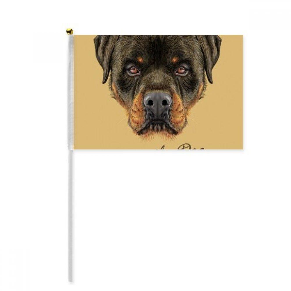 Black Ferocious Rottweiler Dog Pet Animal Hand Waving Flag 8x5 inch Polyester Sport Event Procession Parade 4pcs