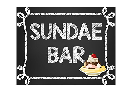 Sundae Bar, Ice Cream Party Sign, Dessert Bar, Ice Cream Bar Sign, Sundae Bar Sign, Glossy 8x10 Sign