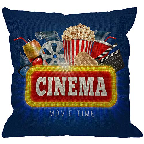 HGOD DESIGNS Cinema Movie Time Throw Pillow Cover,Popcorn Drink Clapping Board and Other Objects On Cinematograph Decorative Pillow Cases Cotton Linen Cushion Covers for Home Sofa Couch 18x18 inch ()