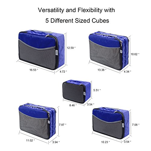 5 Set Travel Luggage Organizer-Double Sided Carryon Lightweight Packing Cubes by Ufine (Image #4)