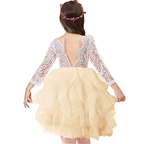 4c03d9c5ff441 Miss Bei Lace Back Flower Girl Dress,Kids Cute Backless Dress Toddler Party  Tulle Tutu Dresses for Baby Girls Dress !