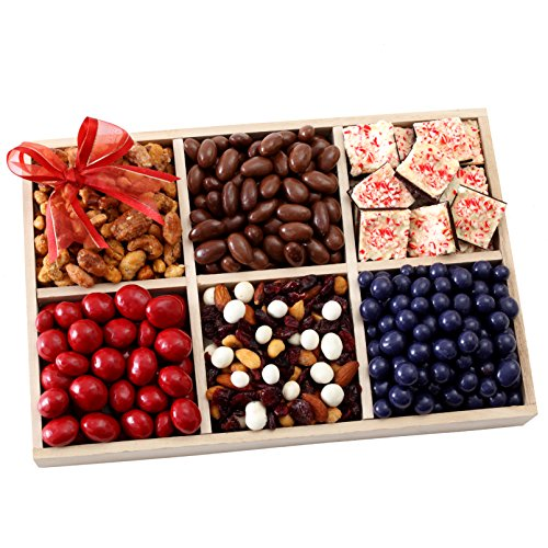 Valentines Day Gourmet Gift Tray with Peppermint Bark, Chocolate Covered Fruits & Nuts Gift Basket