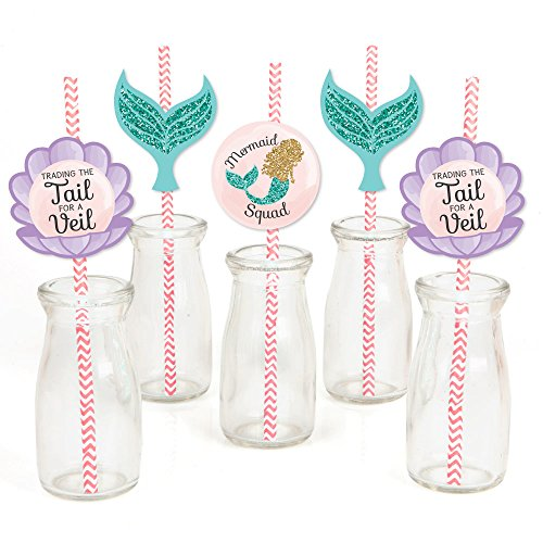Trading The Tail for A Veil - Paper Straw Decor - Mermaid Bachelorette Party or Bridal Shower Striped Decorative Straws - Set of 24