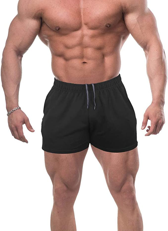 GYMAPE Mens Gym Sport Bodybuilding Workout Casual Shorts with Pockets 3 inch Inseam Raw Hem Terry Cotton