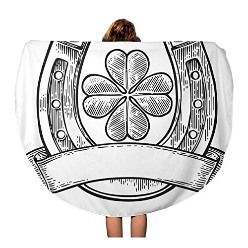 Tinmun 60 Inches Round Beach Towel Blanket Good Luck Four Leaf Clover and Horseshoe Ribbon Vintage Travel Picnic Carpet Yoga Mat