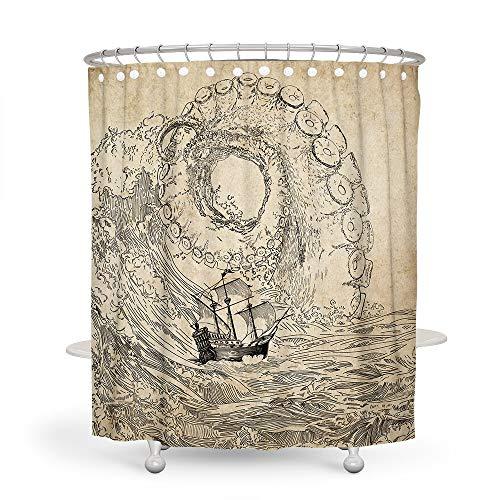 (Octopus Kraken Shower Curtains Vintage VODW Kraken Sailboat Ocean Waves Yellow Black Waterproof Bathroom Decoration)