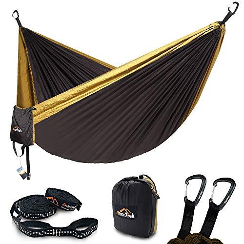 AnorTrek Camping Hammock, Lightweight Portable Single & Double Hammock with Tree Straps [10 FT/18+1 Loops], Parachute Hammock for Camping, Hiking, Garden, Yard (Grey&Khaki, Single 55''W x 112''L) ()