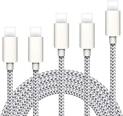 iPhone 充電ケーブル WSCSR ライトニングケーブル 【5本セット 1/1/2/2/3M】 高速データ転送 急速充電 USB同期&充電 ナイロン編み アイフォン充電ケーブル 高耐久 iPhone XS/XS Max/XR/X/8/8Plus/7/7 Plus/6s/6s Plus/iPad/iPod各種対応 (シルバーグレー)