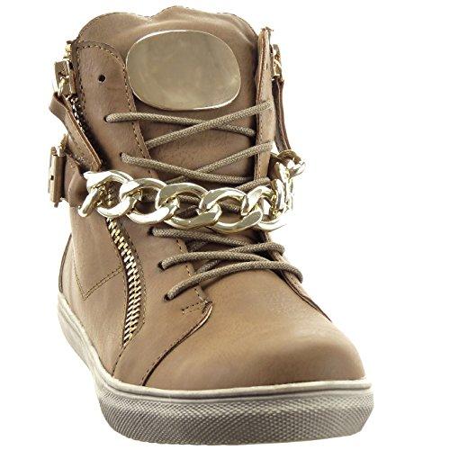 Sopily - Scarpe da Moda Stivaletti - Scarponcini Low Boots Rangers Low boots Alti donna Catena fibbia Zip metallico - soletta tessuto - Khaki