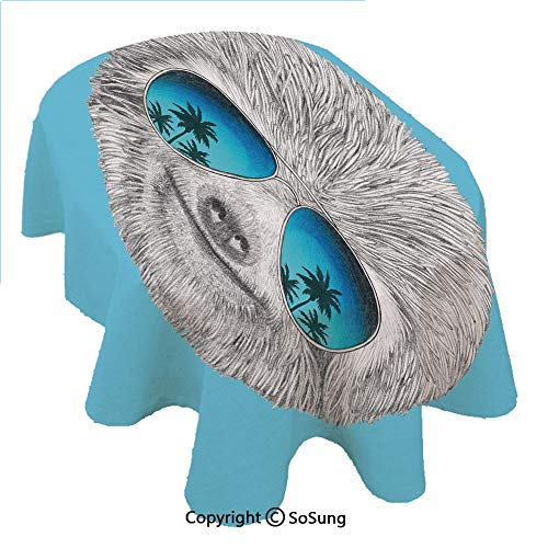SoSung Sloth Oval Polyester Tablecloth,Portrait of Sloth with Mirror Sunglasses Exotic Palm Trees Hawaiian Beach Hipster,Dining Room Kitchen Rectangular Table Cover, 60 x 120 inches,Grey Blue Aqua - Mirror Collection Beach Oval