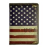 MEKU PU Leather Passport Cover Holder Passport Wallet Vintage Travel Wallet Case USA Flag