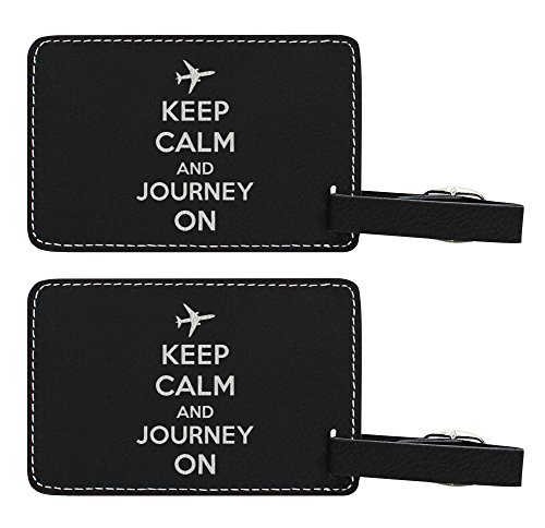 Cute Luggage Tags for Women Keep Calm and Journey On Luggage Tags Cute World Traveler Gifts 2-pack Laser Engraved Leather Luggage Tags Black (Luggage Traveler Tag World)