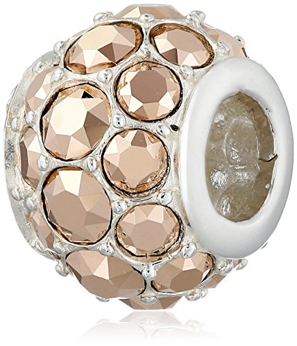 "Chamilia ""Splendor Jewels"" Sterling Silver and Swarovski Crystal Metallic Rose Gold Bead Charm"
