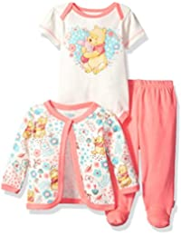 Baby Girls' Winnie the Pooh 3-Piece Bodysuit, Pant, and Jacket Set