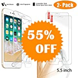 NeWisdom [Anti Shock] [Case Friendly] [2PACK] Glass Screen Protector, iPhone 8 Plus 7 Plus 6s Plus 6 Plus Screen Protector Tempered Glass