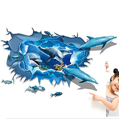 ❤️ Yu2d ❤️ Removable Dolphin 3D Sea Ocean Stickers Wall Decal Mural DIY Decor Kid Room Art]()