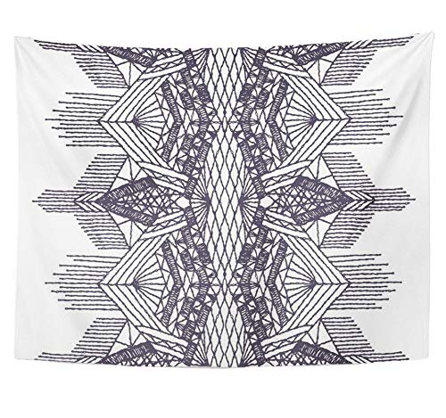 Emvency Tapestry Polyester Fabric Print Home Decor Crochet Crocheted Lace Border with Openwork Pattern of Knitted Boho Brush Trims Wall Hanging Tapestry for Living Room Bedroom Dorm 60x80 (Hand Crocheted Bedspread)
