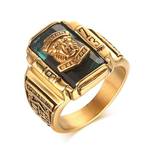Stainless Steel Green Rhinestone 1973 Walton Tigers Signet Ring for Men,18K Gold Plated Size 8