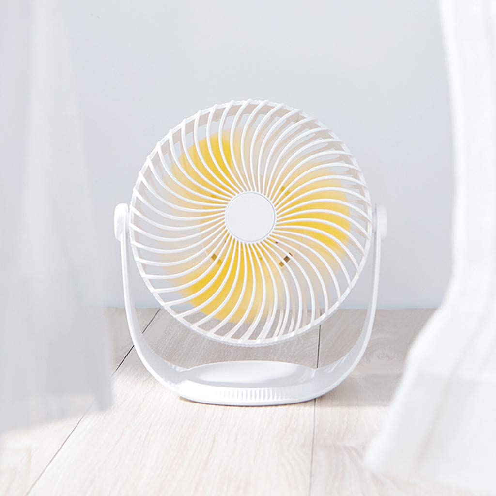 Iusun Mini Table Fan White 7 Cute 3-Speed Wind Adjustable Small Handheld Personal Portable Desk Stroller Fan with USB Electric Cooling Fan for Office Room Outdoor Household Traveling Camping Gym